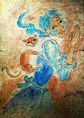 Illustrerad kvinna med katt på hennes rygg — Stockfoto