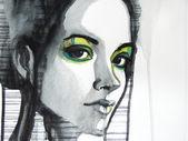 Beautiful illustrated girl — Stock Photo