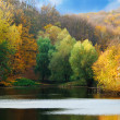 Autumn in the park with lake — Stock Photo