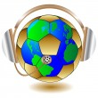 Soccerball abd headphone.Vector — Vector de stock #3374651