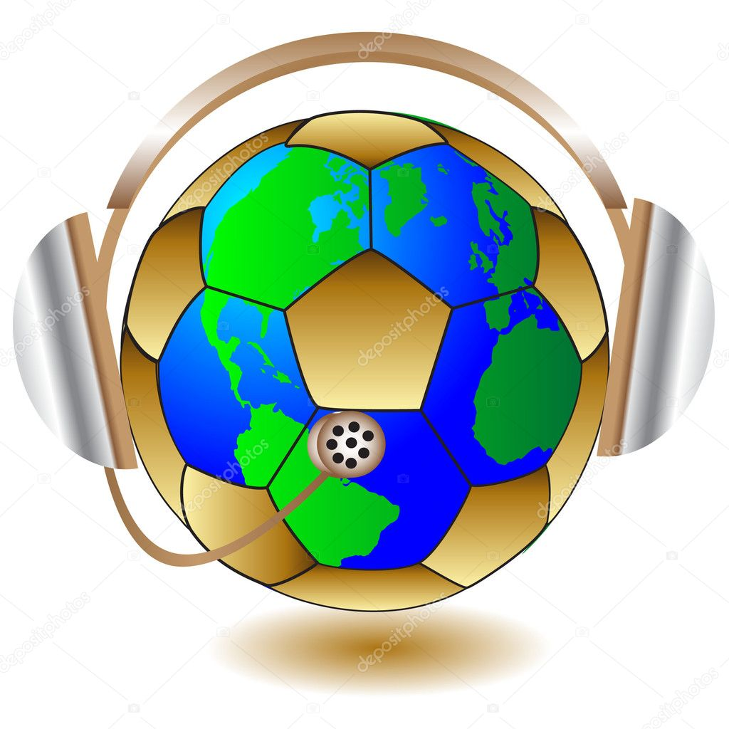 Soccerball abd headphone.Illustration — Stock Vector #3374651
