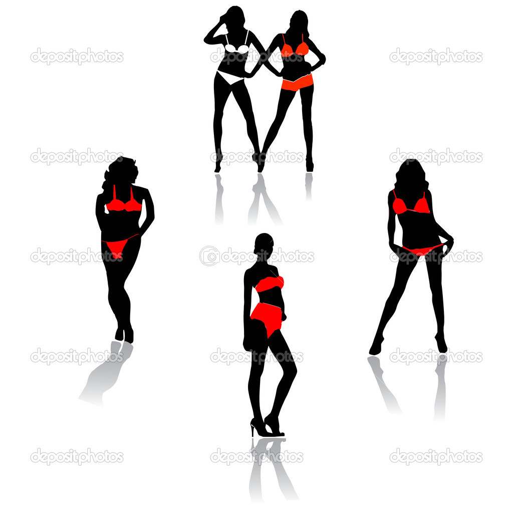 Bikini models.Illustration — Stock Vector #3638275
