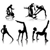 Fitness silhouettes.Vector — Stock Vector
