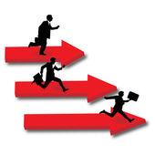 Men runningon arrows. 3d.Vector — Stock Vector