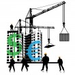 Investment of money in building.Vector - Stock Vector