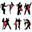 Dancing couples.Vector — Vettoriali Stock