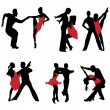 Dancing couples.Vector — Stockvektor