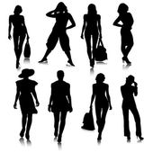 Fashionable Women Silhouette Set.Vector — Stock Vector