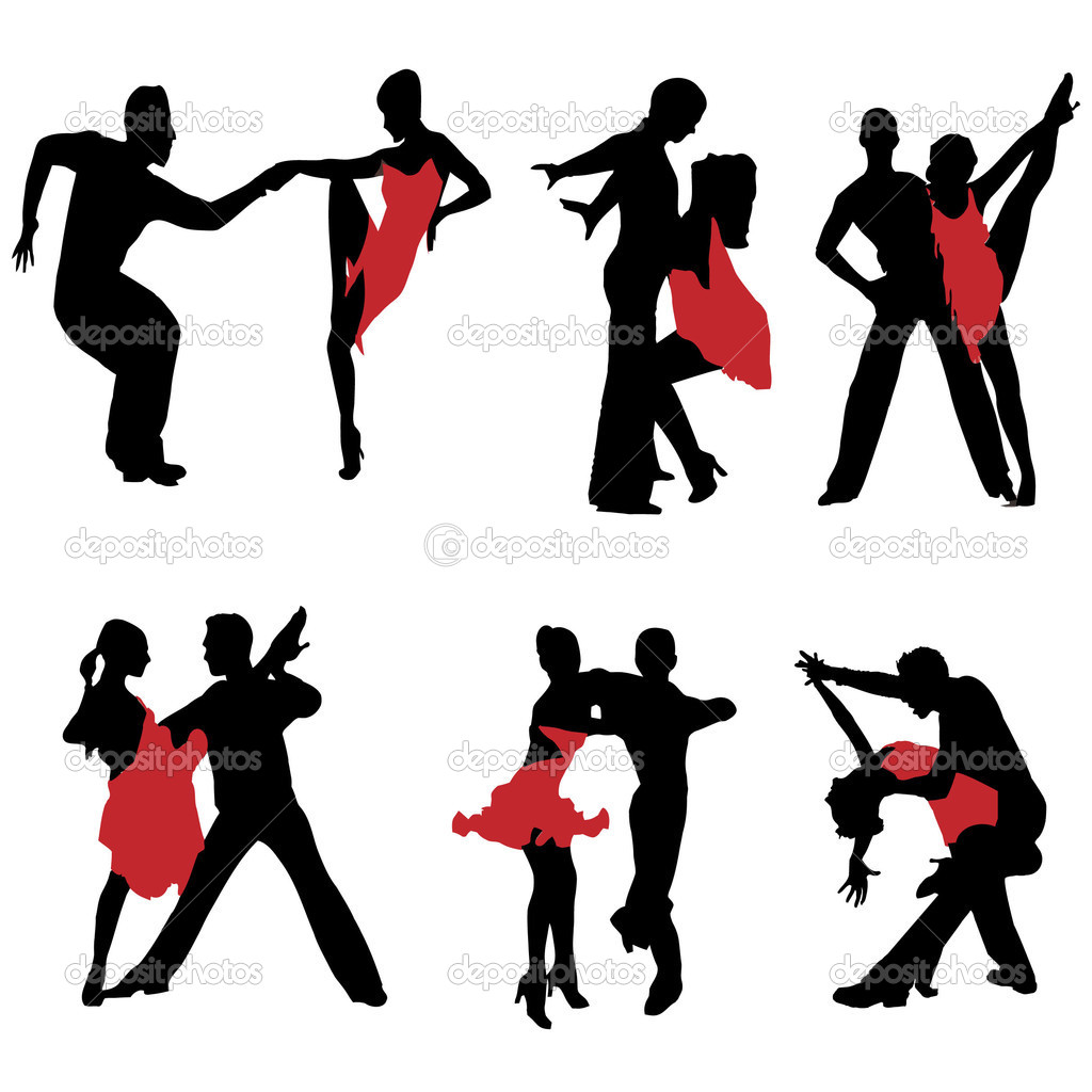 Dancing couples.Illustration — Imagen vectorial #3864950