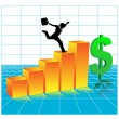 Royalty-Free Stock Vektorfiler: Businessman running 3 d diagram.Vector