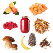 Collection of ripe berry fruits nuts — Stock Photo
