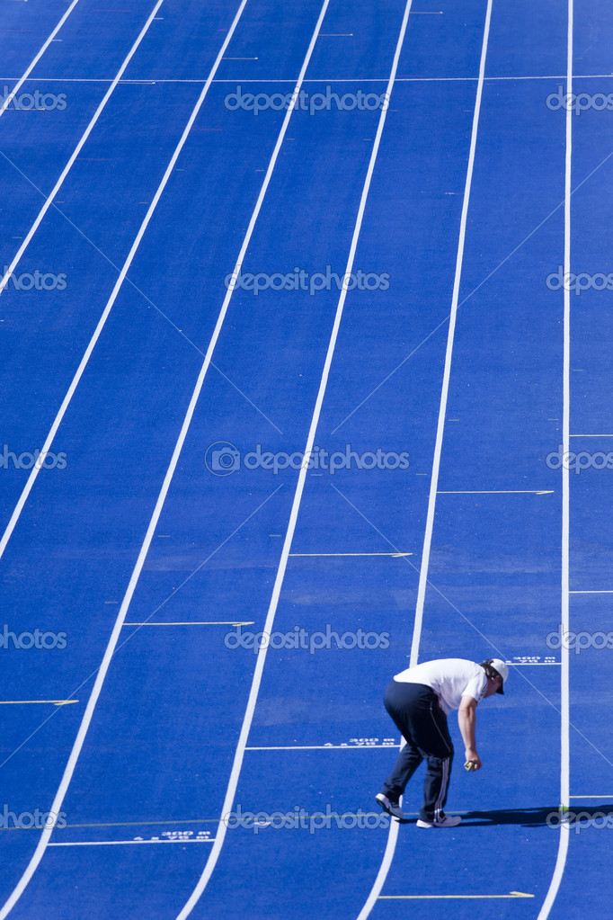 Blue dirt track in the stadium — Stock Photo #2713743