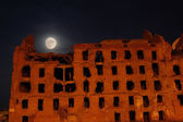Moon and the destroyed house — Stock Photo