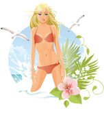Women on the beach (blonde) — Stock Vector