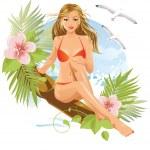 Women on the beach (brunette) — Stock Vector