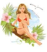 Women on the beach (brunette) — Stock Vector
