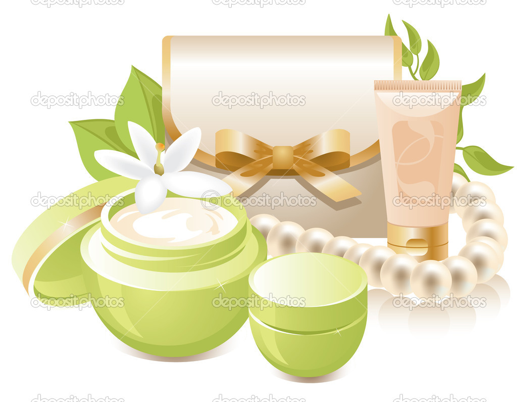 Decorative vector illustration cosmetics bag with face cream and lotion. Illustration isolated on white background.  Stock Vector #2785873