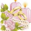 Wedding rings with rose and candle - Stock Vector