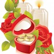 Jewelry box with wedding rings — Imagen vectorial