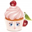 Cherry cupcake (character) — Stock Vector #3186978