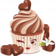 Chocolate cupcake (character) - Stock Vector