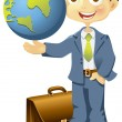 Businessman holding a globe in hand - Stock Vector