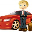 Businessman with a car - Stock Vector