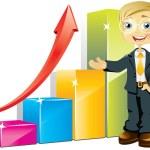 Businessman with positive bar graph — Stock Vector