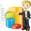 Businessman with chart — Stock Vector #3187003