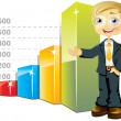 Businessman with bar graph — Stock Vector