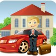 Mwith his car and house — Stock Vector #3187008