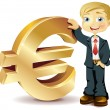 Businessman with a euro symbol - Stock Vector