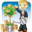 Businessman watering a money tree — Stock Vector