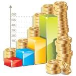 Money bar graph — Stock Vector