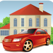 House and car - Stock Vector