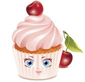 Cherry cupcake (character) — Stock Vector
