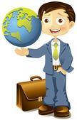 Businessman holding a globe in hand — Stock Vector
