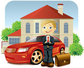 Man with his car and house — Stock Vector