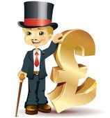 Englishman with a pound symbol — Stock Vector