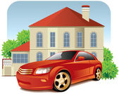 House and car — Stock Vector