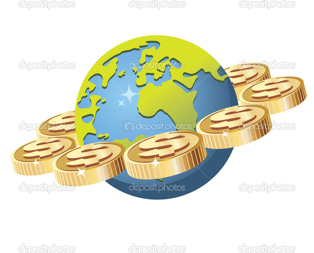 Vector illustration of global finance concept. Illustration isolated on white background. — Stock Vector #3189267