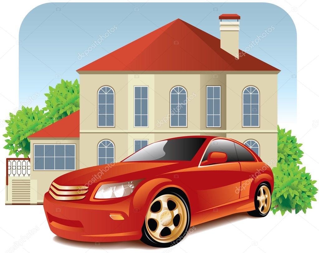 House And Car Stock Vector Annadrozd 3189284