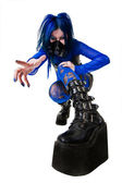 Young cyber goth woman — Foto Stock