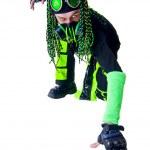 Cyber Goth guy posing like a spiderman — Stock Photo