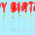 Happy birthday balloons isolated on blue — Stock Photo