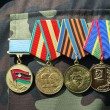 Soviet and ukrainian jubilee medals — Stock Photo