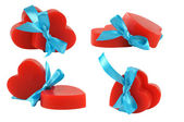 4 groups of pairs of red hearts — Stock Photo