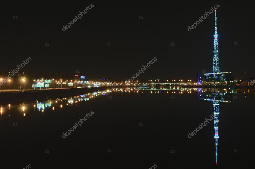 Saint Petersburg, Russia, Night on the River Neva and the embankment and the TV Tower  Stock Photo #2953993