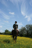 Riding in Buttercups — Stock Photo