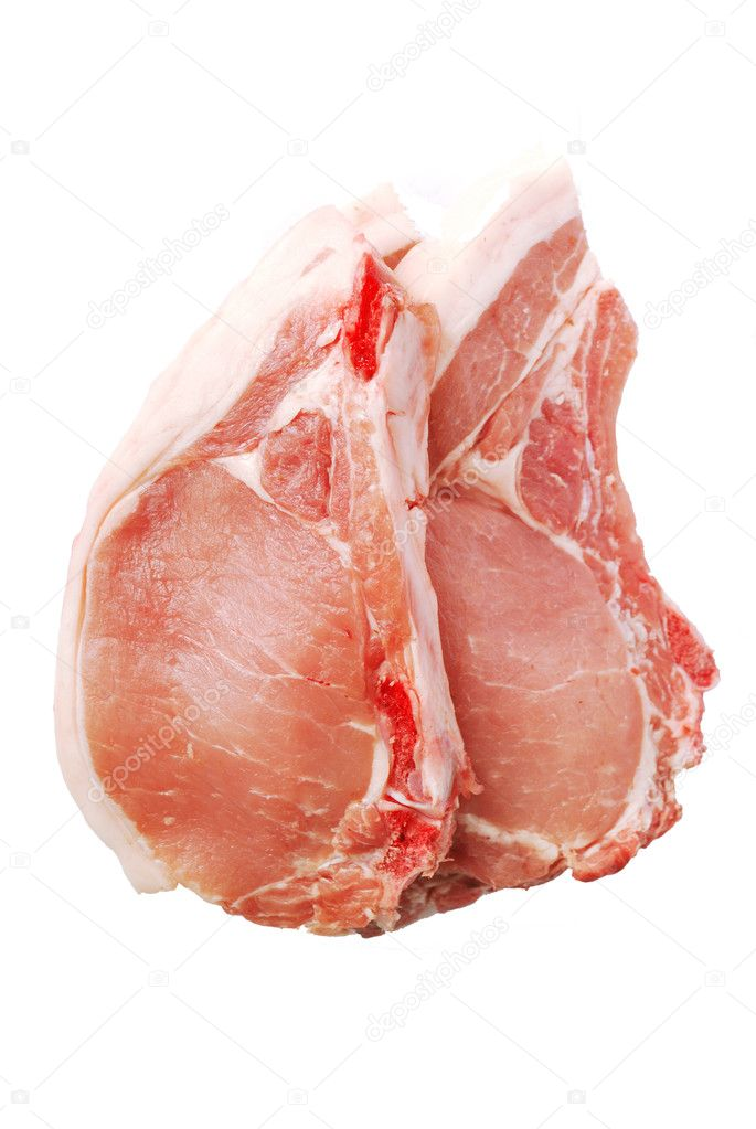 Raw pork chops isolated on white background — Stock Photo #2716551